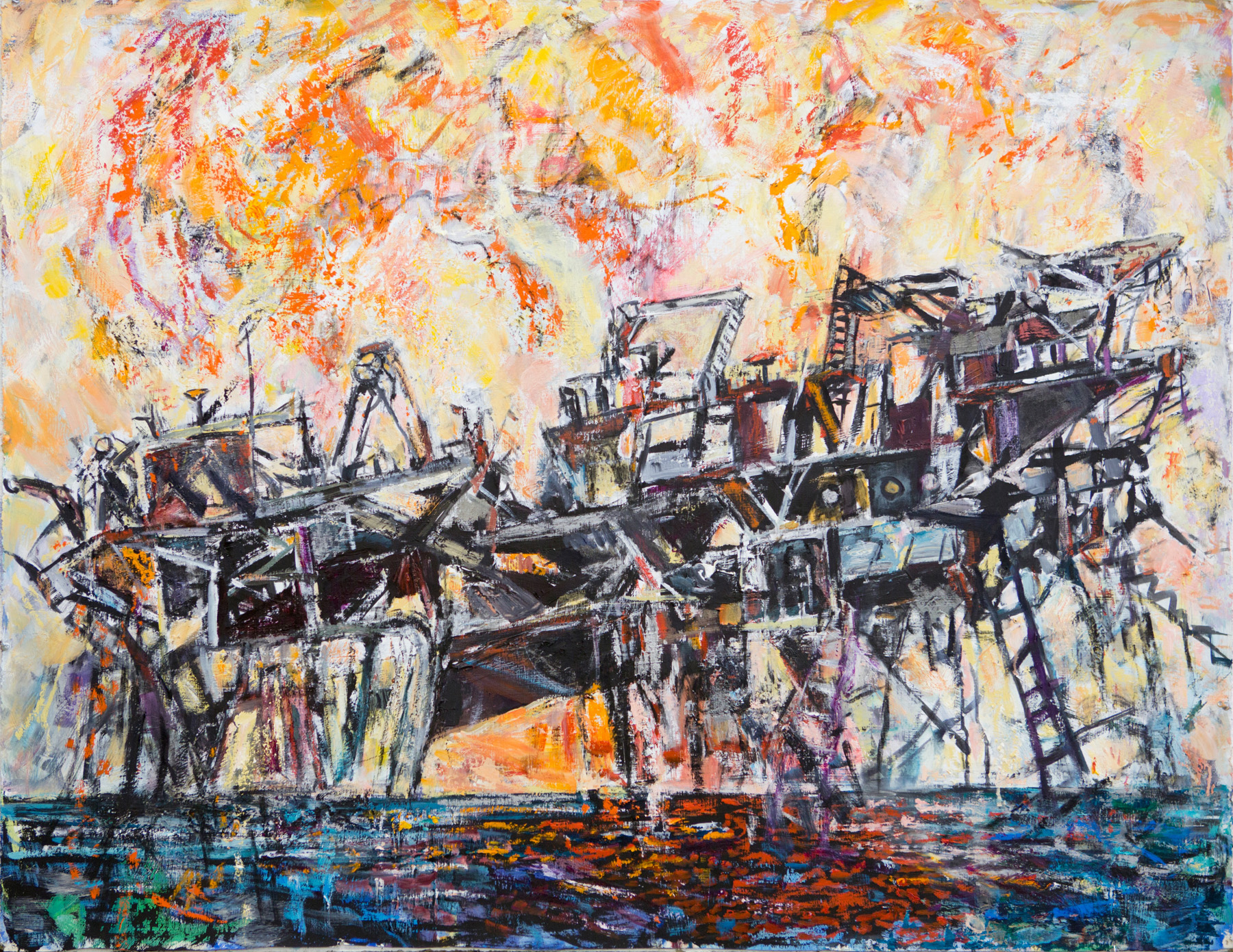 oil painting showing the Deepwater Horizon disaster
